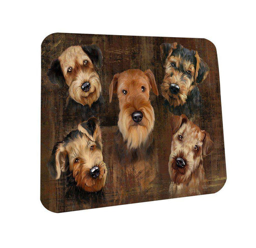 Rustic 5 Airdales Dog Coasters Set of 4 CST48145