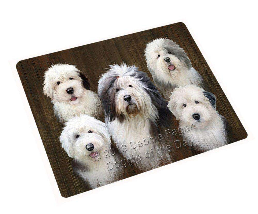 Rustic 5 Old English Sheepdogs Blanket BLNKT61644