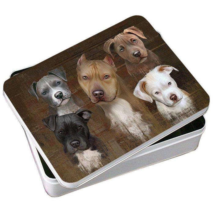 Rustic 5 Pitbulls Dog Photo Storage Tin PITN48183
