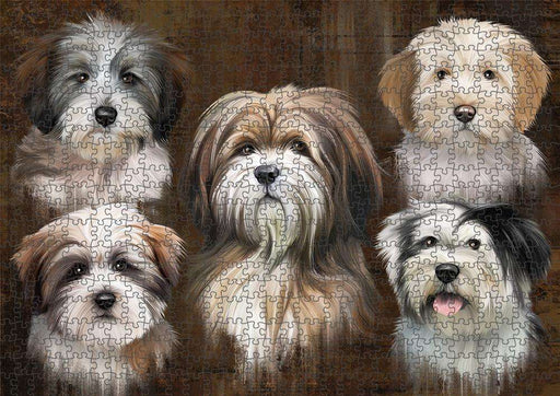 Rustic 5 Tibetan Terrier Dog Puzzle with Photo Tin PUZL83756
