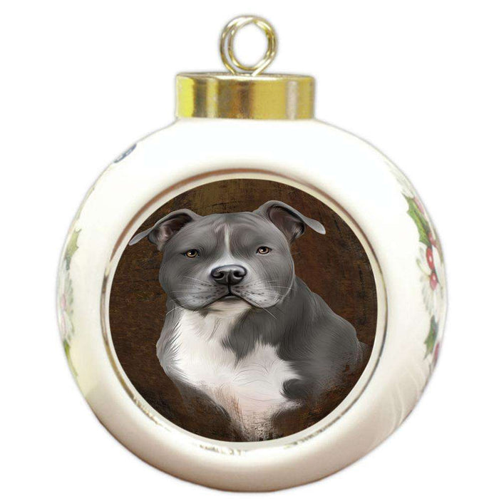 Rustic American Staffordshire Terrier Dog Round Ball Christmas Ornament RBPOR54401