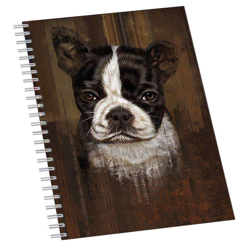 Rustic Boston Terrier Puppy Notebook NTB48120