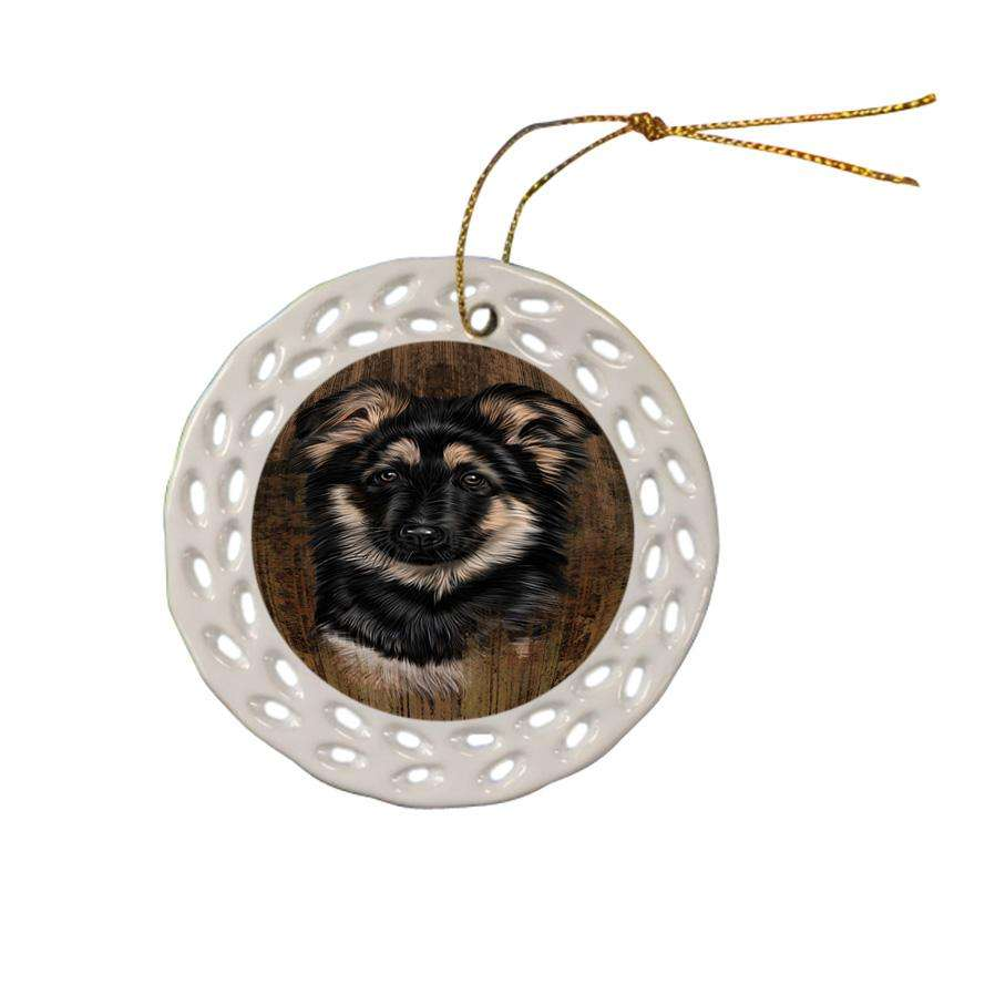 Rustic German Shepherd Dog Ceramic Doily Ornament DPOR50408