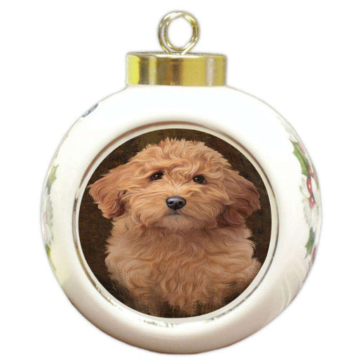 Rustic Goldendoodle Dog Round Ball Christmas Ornament RBPOR54442