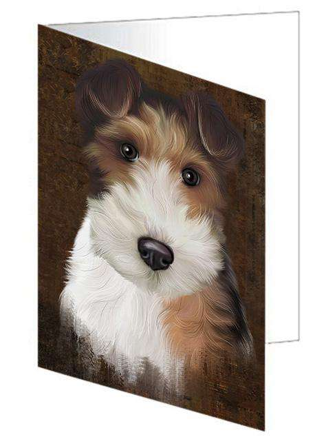 Rustic Wire Fox Terrier Dog Greeting Card GCD67544