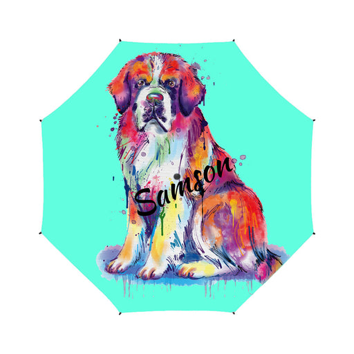 Watercolor Mini Shih Tzu Dogs Semi-Automatic Foldable Umbrella