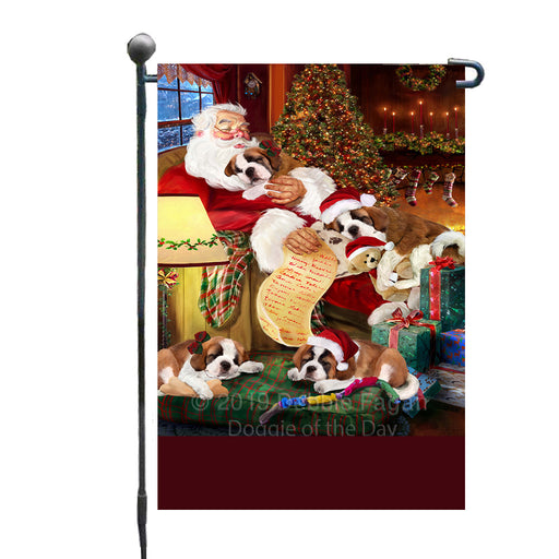 Personalized Saint Bernard Dogs and Puppies Sleeping with Santa Custom Garden Flags GFLG-DOTD-A62662