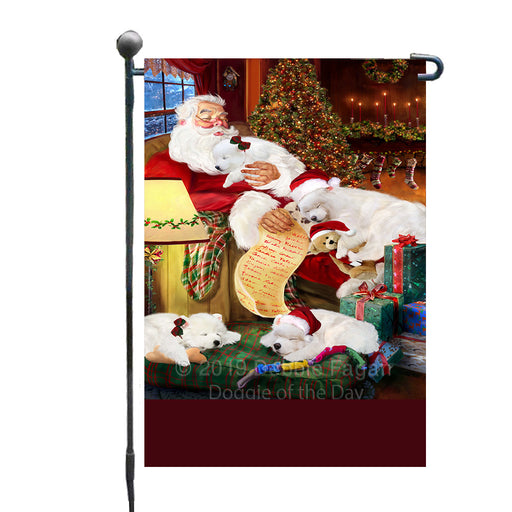 Personalized Samoyed Dogs and Puppies Sleeping with Santa Custom Garden Flags GFLG-DOTD-A62663