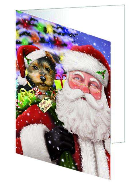 Santa Carrying Australian Terrier Dog and Christmas Presents Greeting Card GCD65036