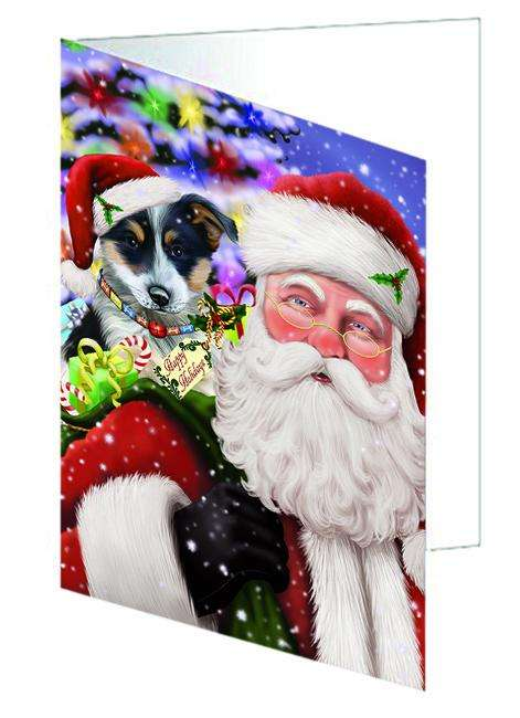 Santa Carrying Blue Heeler Dog and Christmas Presents Greeting Card GCD65057