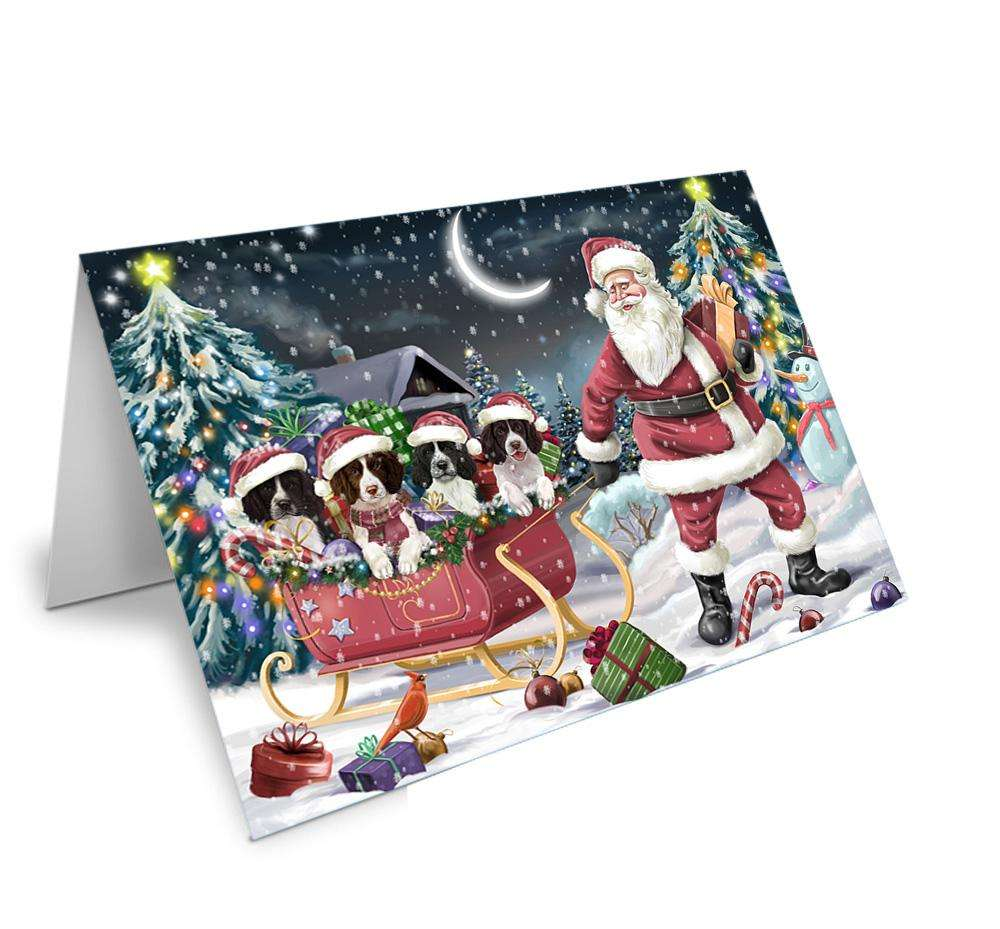 Santa Sled Christmas Happy Holidays Springer Spaniels Dog Greeting Card GCD67172