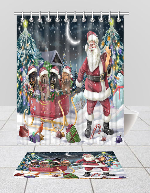 Santa Sled Dogs Christmas Happy Holidays Tibetan Mastiff Dogs Bath Mat and Shower Curtain Combo