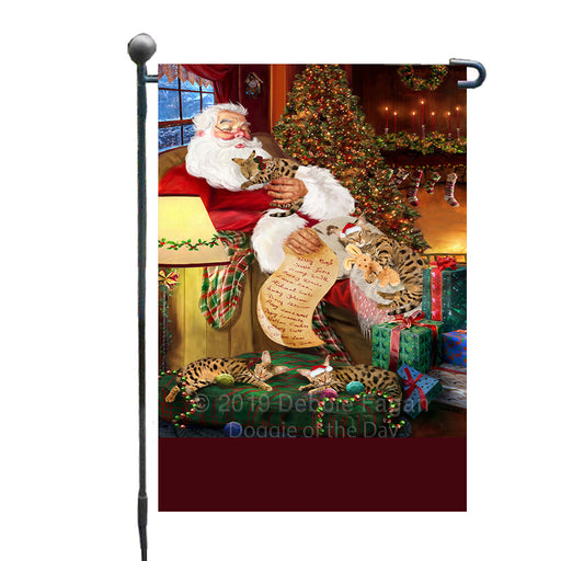Personalized Savannah Cats and Kittens Sleeping with Santa Custom Garden Flags GFLG-DOTD-A62664