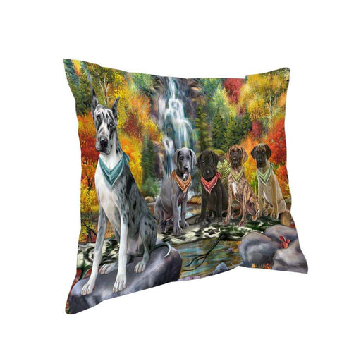 Scenic Waterfall Great Danes Dog Pillow PIL56724