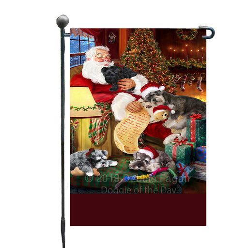 Personalized Schnauzer Dogs and Puppies Sleeping with Santa Custom Garden Flags GFLG-DOTD-A62665