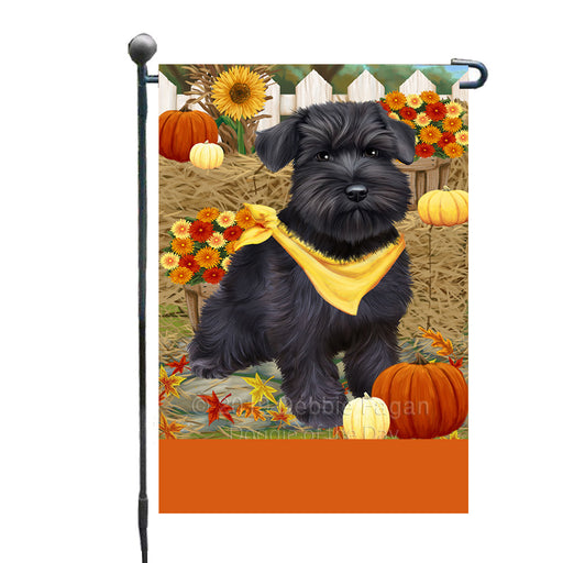 Personalized Fall Autumn Greeting Schnauzer Dog with Pumpkins Custom Garden Flags GFLG-DOTD-A62034