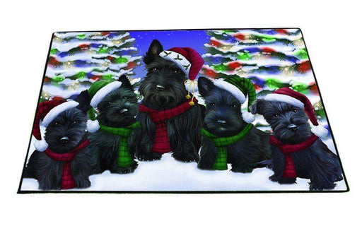 Scottish Terrier Dog Christmas Family Portrait in Holiday Scenic Background Indoor/Outdoor Floormat