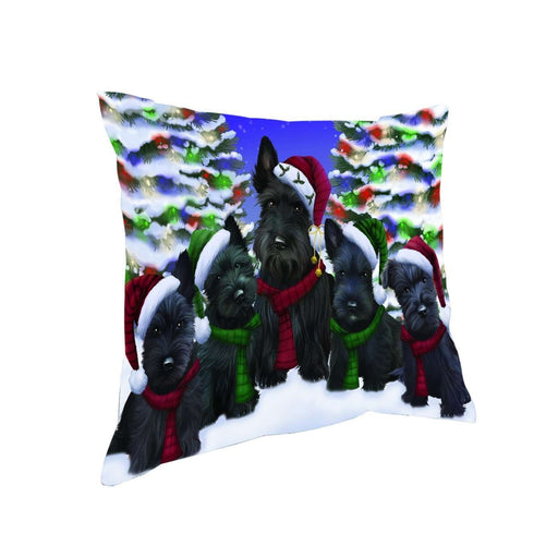 Scottish Terrier Dog Christmas Family Portrait in Holiday Scenic Background Throw Pillow
