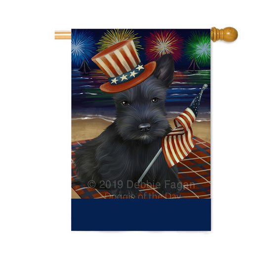 Personalized 4th of July Firework Scottish Terrier Dog Custom House Flag FLG-DOTD-A58124