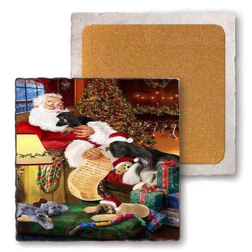 Set of 4 Natural Stone Marble Tile Coasters - Afghan Hounds Dog and Puppies Sleeping with Santa MCST48125