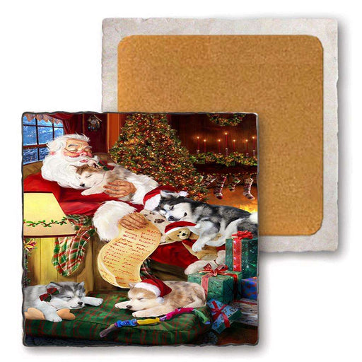 Set of 4 Natural Stone Marble Tile Coasters - Alaskan Malamutes Dog and Puppies Sleeping with Santa MCST48078