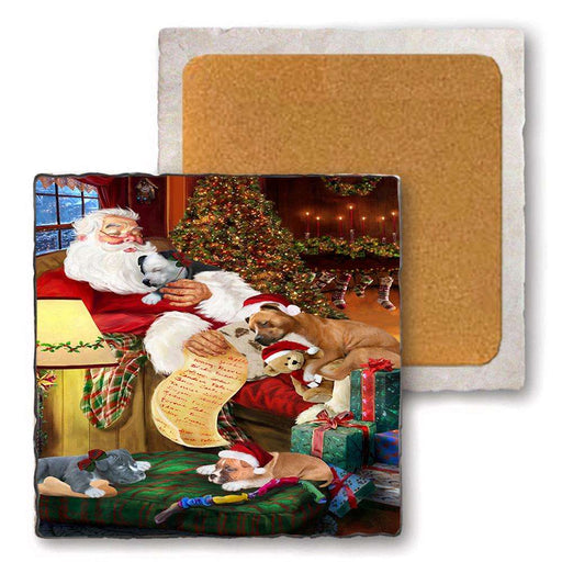 Set of 4 Natural Stone Marble Tile Coasters - American Staffordshires Dog and Puppies Sleeping with Santa MCST48147