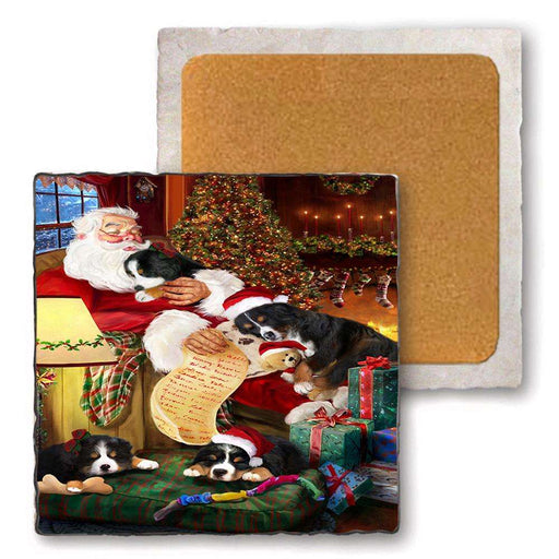 Set of 4 Natural Stone Marble Tile Coasters - Bernese Mountain Dogs and Puppies Sleeping with Santa MCST48084