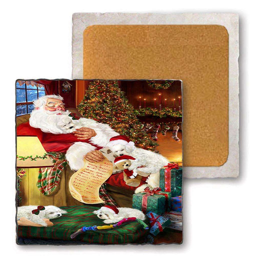 Set of 4 Natural Stone Marble Tile Coasters - Bichon Frises Dog and Puppies Sleeping with Santa MCST48150