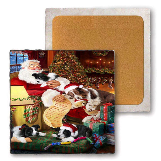 Set of 4 Natural Stone Marble Tile Coasters - Border Collies Dog and Puppies Sleeping with Santa MCST48086