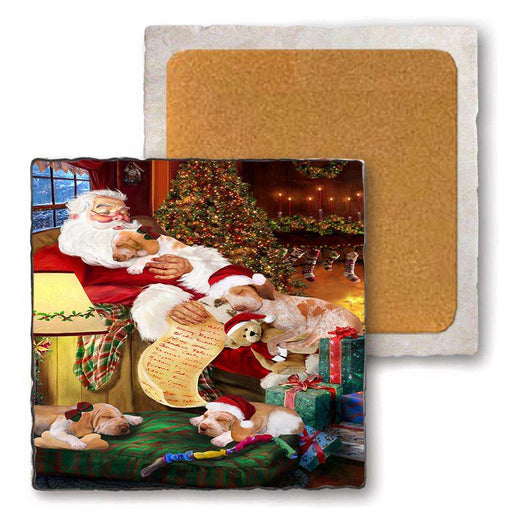 Set of 4 Natural Stone Marble Tile Coasters - Bracco Italianos Dog and Puppies Sleeping with Santa MCST48130