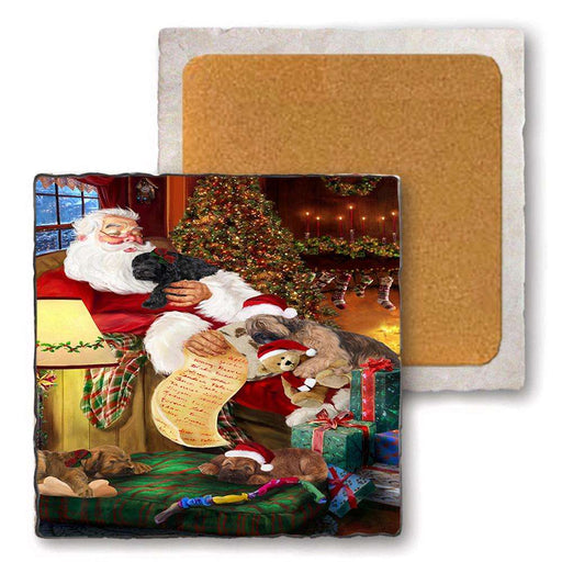 Set of 4 Natural Stone Marble Tile Coasters - Briards Dog and Puppies Sleeping with Santa MCST48131