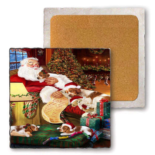 Set of 4 Natural Stone Marble Tile Coasters - Brittany Spaniels Dog and Puppies Sleeping with Santa MCST48153