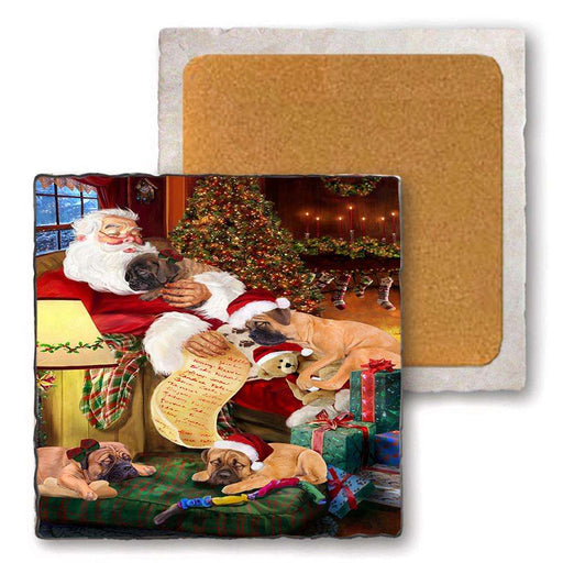 Set of 4 Natural Stone Marble Tile Coasters - Bullmastiffs Dog and Puppies Sleeping with Santa MCST48091