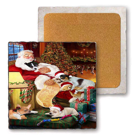 Set of 4 Natural Stone Marble Tile Coasters - Chihuahuas Dog and Puppies Sleeping with Santa MCST48093