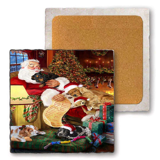 Set of 4 Natural Stone Marble Tile Coasters - Cocker Spaniels Dog and Puppies Sleeping with Santa MCST48095