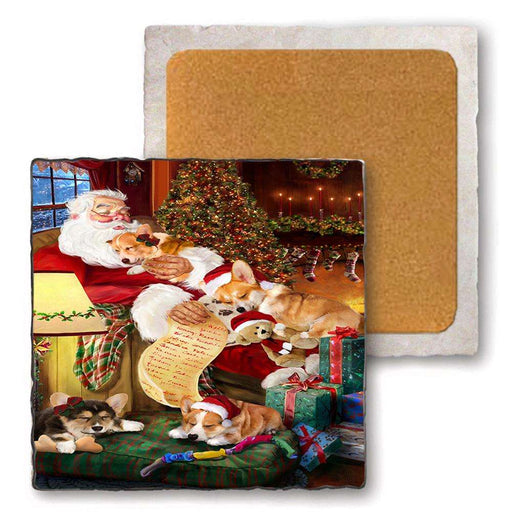 Set of 4 Natural Stone Marble Tile Coasters - Corgis Dog and Puppies Sleeping with Santa MCST48096