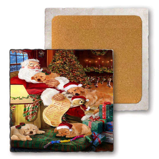 Set of 4 Natural Stone Marble Tile Coasters - Golden Retrievers Dog and Puppies Sleeping with Santa MCST48104