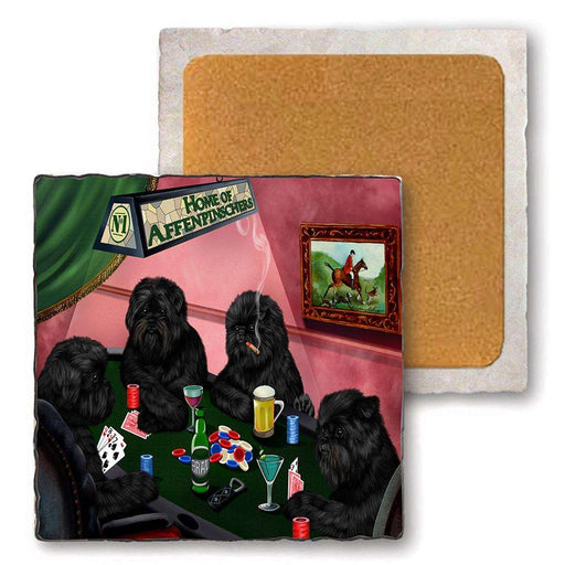 Set of 4 Natural Stone Marble Tile Coasters - Home of Affenpinscher 4 Dogs Playing Poker MCST48056