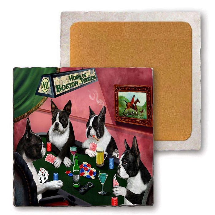 Set Of 4 Natural Stone Marble Tile Coasters Home Of Boston Terrier 4