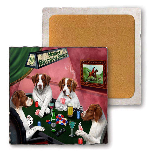 Set of 4 Natural Stone Marble Tile Coasters - Home of Brittany Spaniel 4 Dogs Playing Poker MCST48072