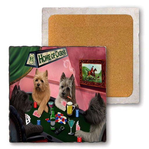 Set of 4 Natural Stone Marble Tile Coasters - Home of Cairn Terrier 4 Dogs Playing Poker MCST48053