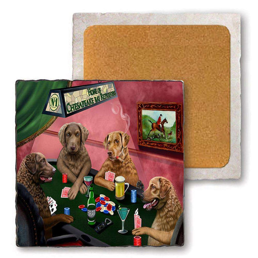 Set of 4 Natural Stone Marble Tile Coasters - Home of Chesapeake Bay Retriever 4 Dogs Playing Poker MCST48073