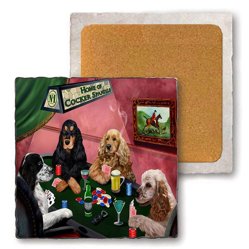 Set of 4 Natural Stone Marble Tile Coasters - Home of Cocker Spaniel 4 Dogs Playing Poker MCST48016