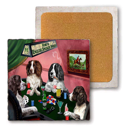 Set of 4 Natural Stone Marble Tile Coasters - Home of English Springer Spaniel 4 Dogs Playing Poker MCST48021