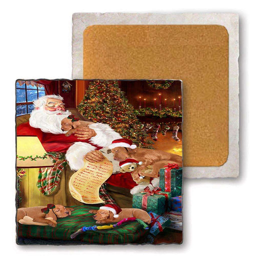 Set of 4 Natural Stone Marble Tile Coasters - Vizslas Dog and Puppies Sleeping with Santa MCST48157