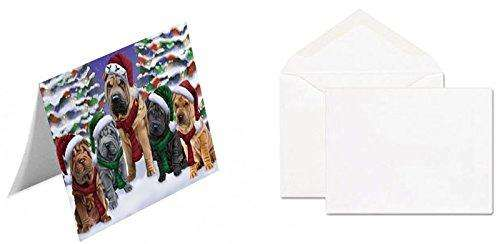 Shar Pei Dog Christmas Family Portrait in Holiday Scenic Background Greeting Card