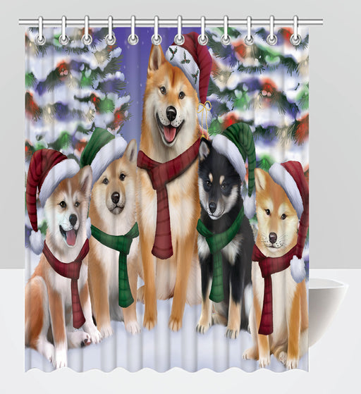 Shiba Inu Dogs Christmas Family Portrait in Holiday Scenic Background Shower Curtain