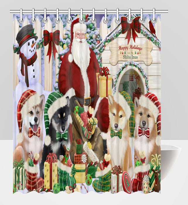 Happy Holidays Christmas Shiba Inu Dogs House Gathering Shower Curtain