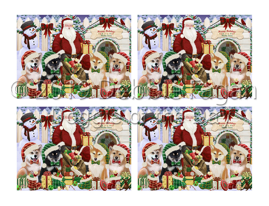 Happy Holidays Christmas Shiba Inu Dogs House Gathering Placemat