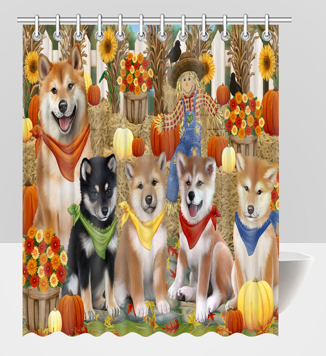 Fall Festive Harvest Time Gathering Shiba Inu Dogs Shower Curtain